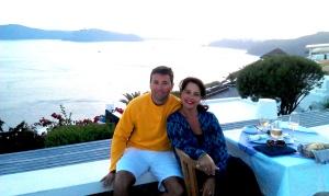 Jeff Gaura and Linda Gaura, in Santorini, Greece.