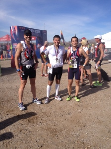 Jeff, Bryan and Ken, at race end.  I beat them all.