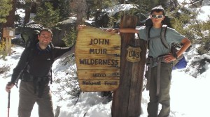 Author and his son, on the trail up Mt Whitney, after a snow storm.