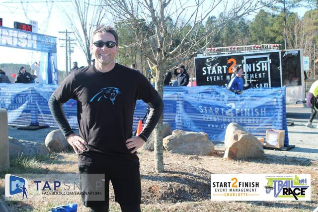 Jeff Gaura comes in first at the Charlotte RUnning Company Trail Race.