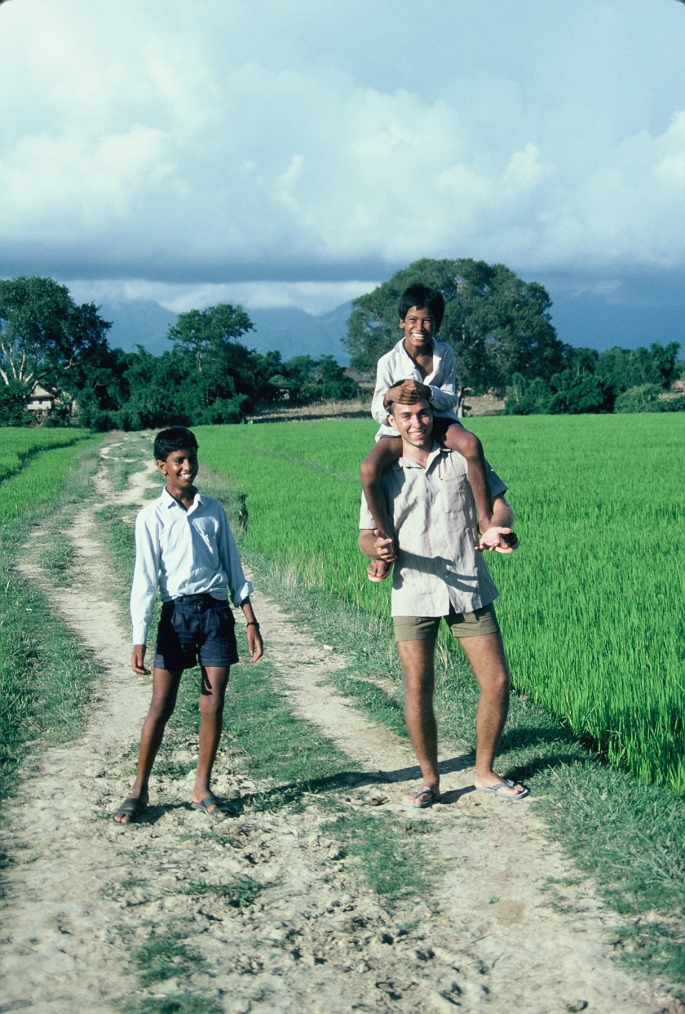 Jeff Gaura circa 1987 standing in the Dang Valley of Nepal