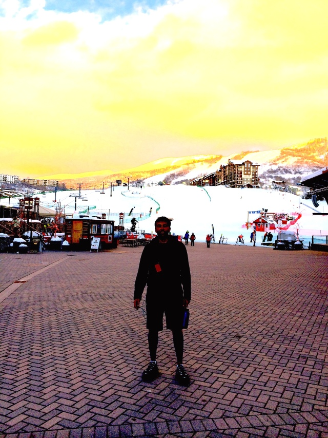 Jeff Gaura at the bottom of Steamboat after running 10K in the winter.