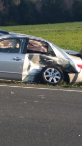 What her car looked like, after getting hit