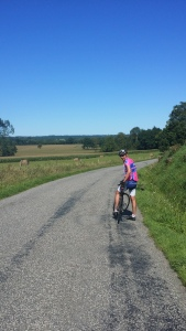 Andy, Everton man turned Scottish, riding through farmlands in the middle of the Pyrenees