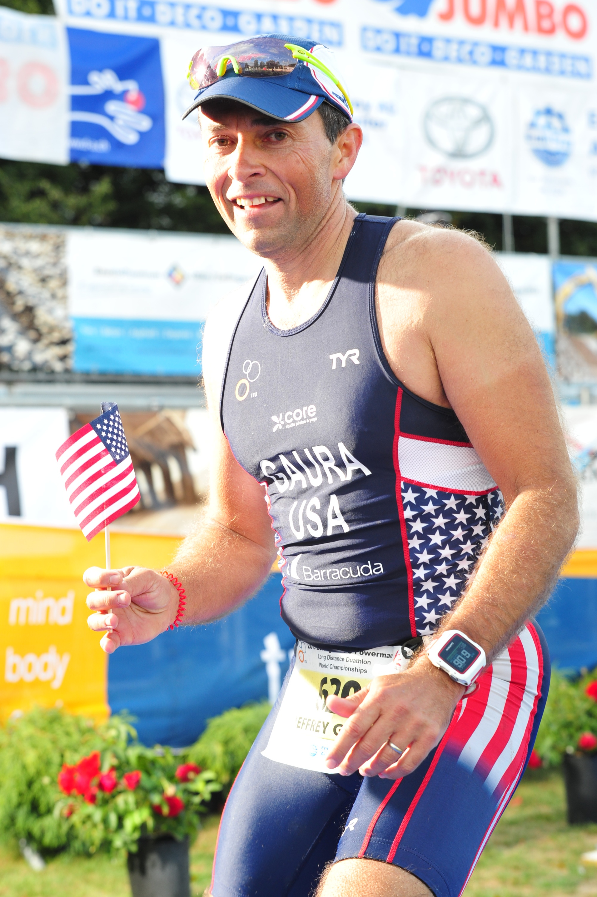 Jeff Gaura at the finish line of Powerman Zofingen