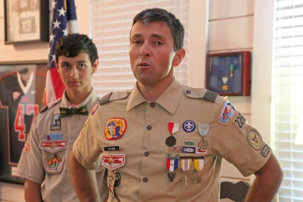Jeff Gaura sharing at Alex Gaura's Eagle Scout Award Ceremony